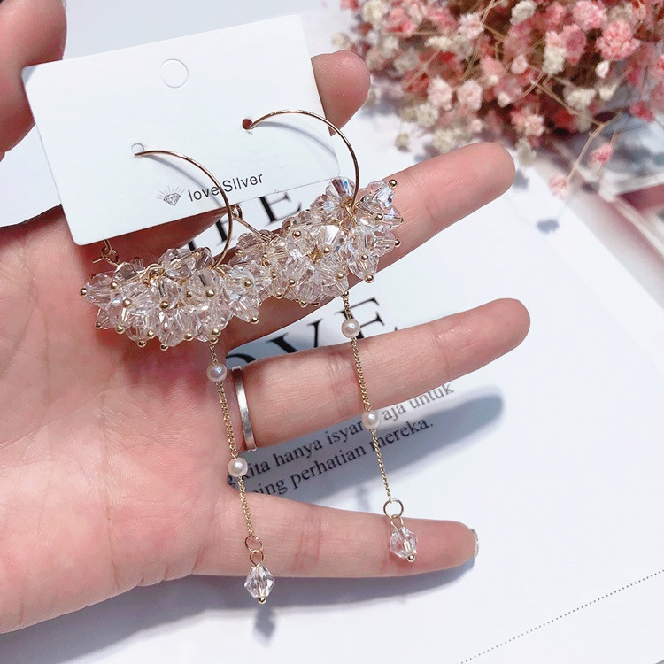Trendy Earrings Big Circle Transparent Crystal Beads Long Tassel Earrings For Women Fashion Drop Earrings Jewelry Earrings