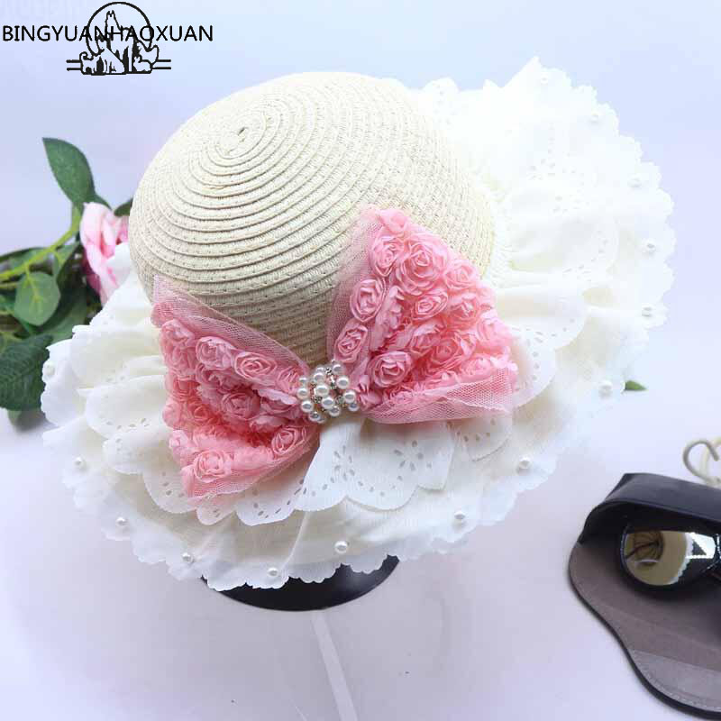BINGYUANHAOXUAN 2018 New Fashion Children's Bud Silk Sun Hat The Girl's Pearl Rose Bow Straw Hats Retail and Wholesale