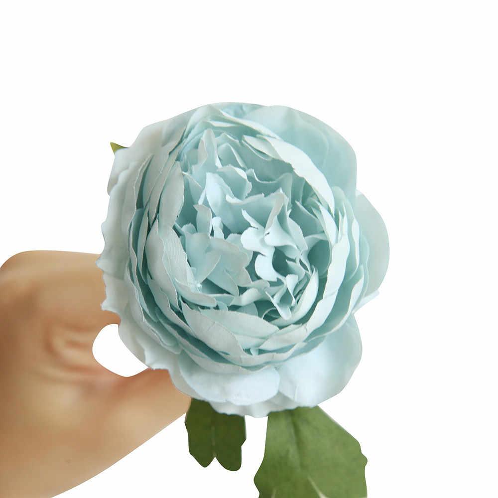 الاصطناعي وهمية الغربية روز زهرة أبيض أزرق رمادي وردي أرجواني القماش الفاوانيا الزفاف باقة الزفاف ديكور المنزل ورد صناعي