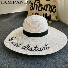 Summer Big Brim Sun Hat with Cute Embroidery