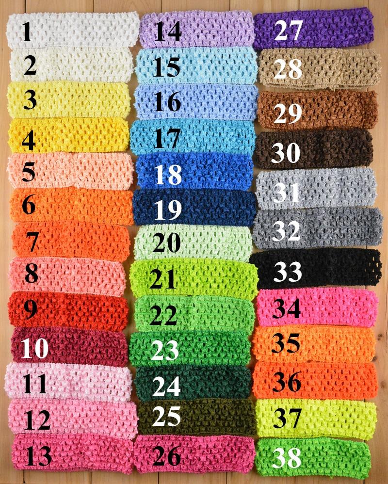 10PCS Baby Hair band Crochet Headbands Children Hair bands Baby Hair Accessories 38 Colors Crochet Elastic DIY   Headwear