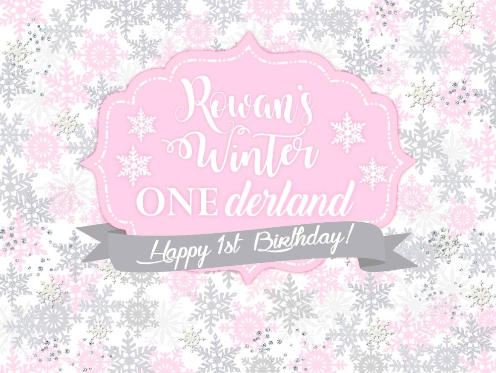 Background Custom Silver Snowflake Winter Onederland Baby Shower Floral Pink Photo Backdrop Computer Print Party Backgrounds Year-End Bargain Sale Photo Studio