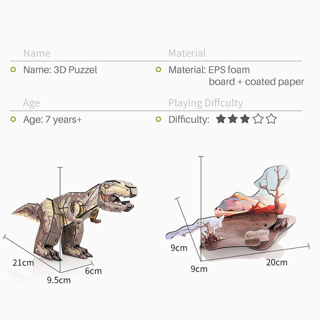 New 3D dinosaur puzzles For kids EPS foam paper puzzle Toys Animals DIY funny educational toy children learning Puzzle IQ 5