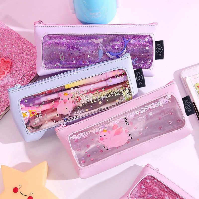 Kawaii Quicksand Mermaid Pencil Case High Capacity PU Pencil Bag Cute Pink Pig Pencilcase For Girls Pen Box School Supplies
