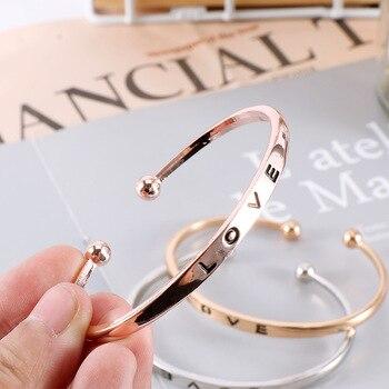 PULSERAS CON inicial de nudo personalizado para mujeres y hombres, brazalete con letra de amor con tornillo de mano, pulsera con dije Simple, regalo de joyería