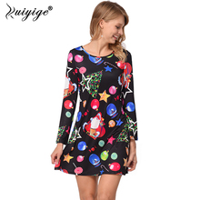 Ruiyige 2018 Spring Women A Line Loose Dresses Novelty Cartoon Santa Claus Mini Robe Casual Print O Neck Christmas Vestidos