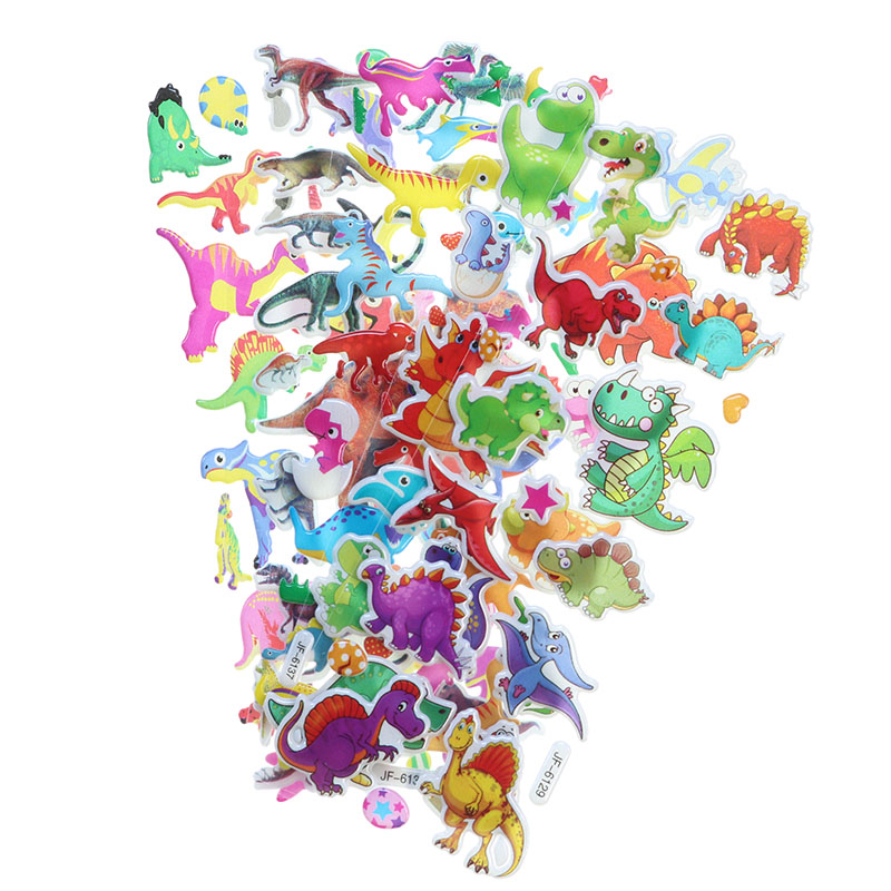 10pcs Cartoon Dinosaur Bubble Sticker Mobile Phone Album Decoration Gift Stickers Children Stationery Stickers (Style Random)