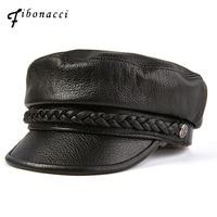 Fibonacci 2019 New Sheepskin Leather Military Cap Top Quality Autumn Winter Flat Top Women Army Hat