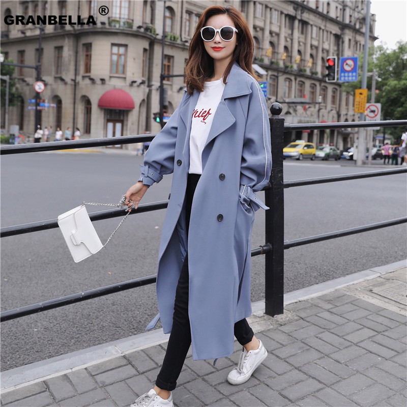 Popular London Style Fashion 2019 Casual Double breasted Long   Trench   coat ovesized Women outerwear windbreaker