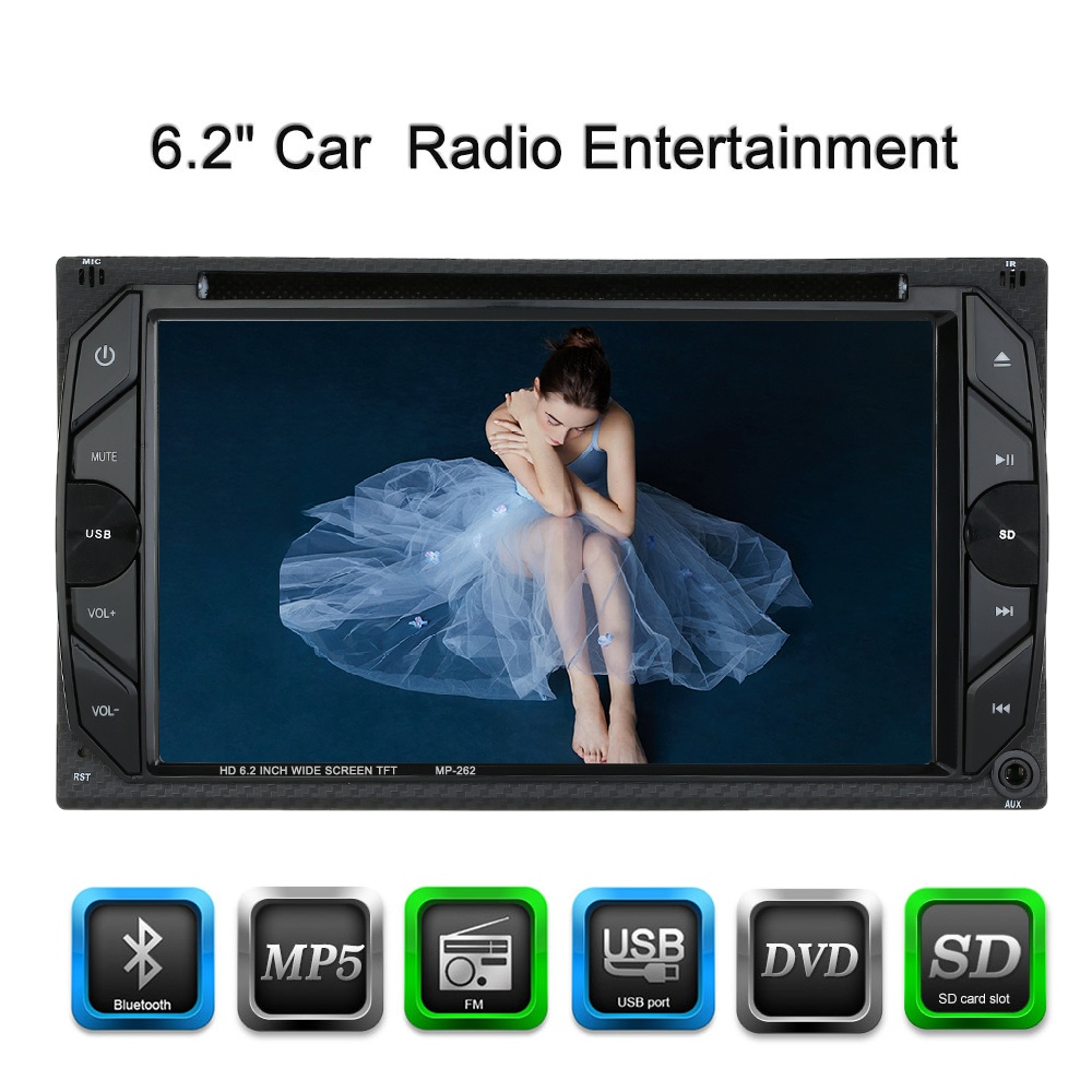 6.2 Inch Screen Double Din Car Radio CD/DVD Player for Golf v BMW e46 Opel Astra h VW Cruze Hover Seat Altea e mu cd rom