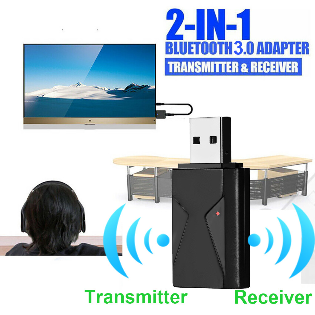 2019 New USB Blueteeth Receiver 3.5 Audio Transmitter Adapter For TV/PC Headphone Speaker 2-in-1 Bluetooth Receiver Transmitter
