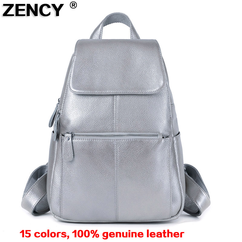 2018 Genuine Real Cow Leather Hot Selling Silver Color Zipper Hardware Women Ladies Girl Backpack Top Layer Cowhide School Bags 2016 fashion women s genuine leather backpack backbag hot selling woven genuine leather