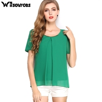 Witsources Women Summer Blouses Shirts 2017 New Fashion O Neck Short Sleeve 10 Candy Colors Casual