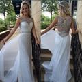 Moda Recta Blanco Lentejuelas Vestidos de Baile 2016 Por Encargo Cristalino Moldeado Scoop Cuello Piso-Longitud Vestidos de Noche Formales