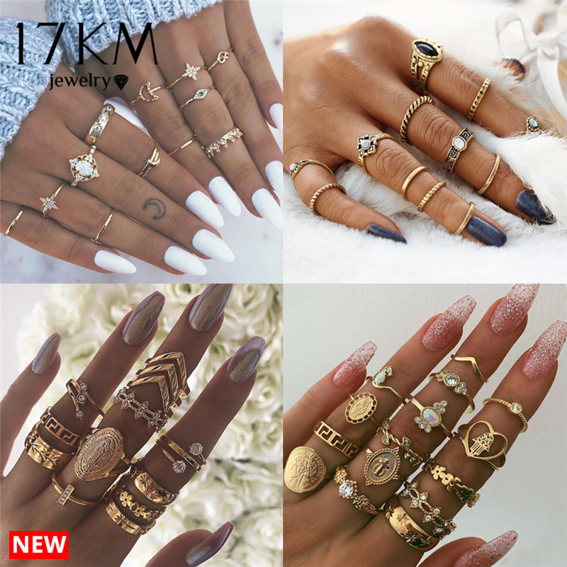 17KM 8 Design Vintage Gold Star Moon Rings Set For Women