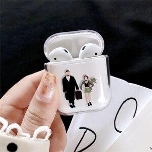 Image 4 - Прозрачные Жесткие чехлы для Apple Airpods, беспроводные Bluetooth наушники, милые Мультяшные, King Queen, прозрачные парные Чехлы Air Pods, наушники