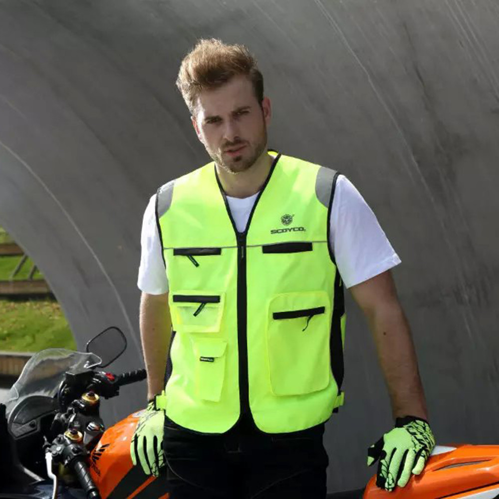 Motorcycle Roadway Reflective Jacket Safety Clothing Scoyco JK30-2 Chaleco Reflectante Protective Vest Ropa Moto High Visibility ...
