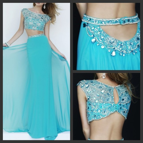 New Vestidos De Festa Free Shipping Two Piece Sleeveless Party   Prom     Dress   Backless Chiffon Straight Beaded WomenDresses C434