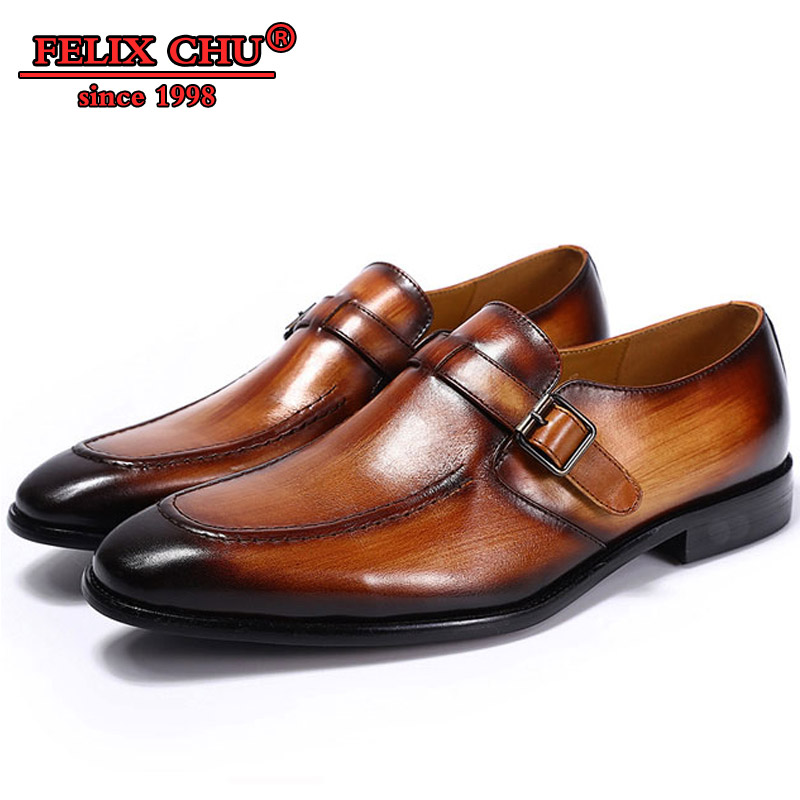 FELIX CHU - ELEGANT MEN CASUAL SHOES GENUINE COW LEATHER OFFICE BUSINESS BROWN BUCKLE STRAP FORMAL LOAFERS DRESS SHOE