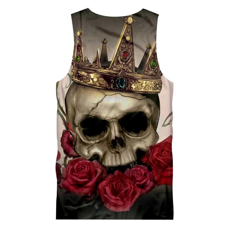 Ujwi Rose Skull 3D Tank Top Fashion Musim Panas Cetak Tengkorak dengan Mahkota Tanktops Pria Hip Hop Streetwear Tanpa Lengan kemeja Rompi