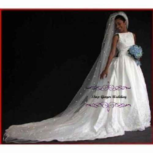 Hot Sale 1 Tier Cathedral Royal Crystal Pearl Wedding Bridal Veil With Pearl Ivory EE704