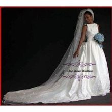 מכירה לוהטת 1 Tier קתדרלת רויאל קריסטל פרל חתונת כלה רעלה עם פרל שנהב EE704