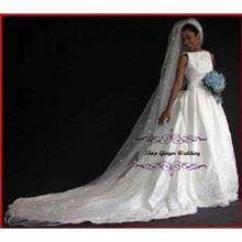 Heißer Verkauf 1 Tier Kathedrale Royal Kristall Perle Hochzeit Braut Schleier Mit Perle Elfenbein EE704