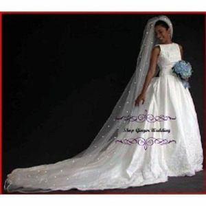 Image 1 - Heißer Verkauf 1 Tier Kathedrale Royal Kristall Perle Hochzeit Braut Schleier Mit Perle Elfenbein EE704