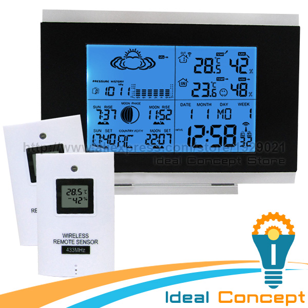 ФОТО Outdoor Thermometer Weather Station Wireless Sensor Humidity Display Built-in Barometer DST and DCF77 5 Weather Forecast