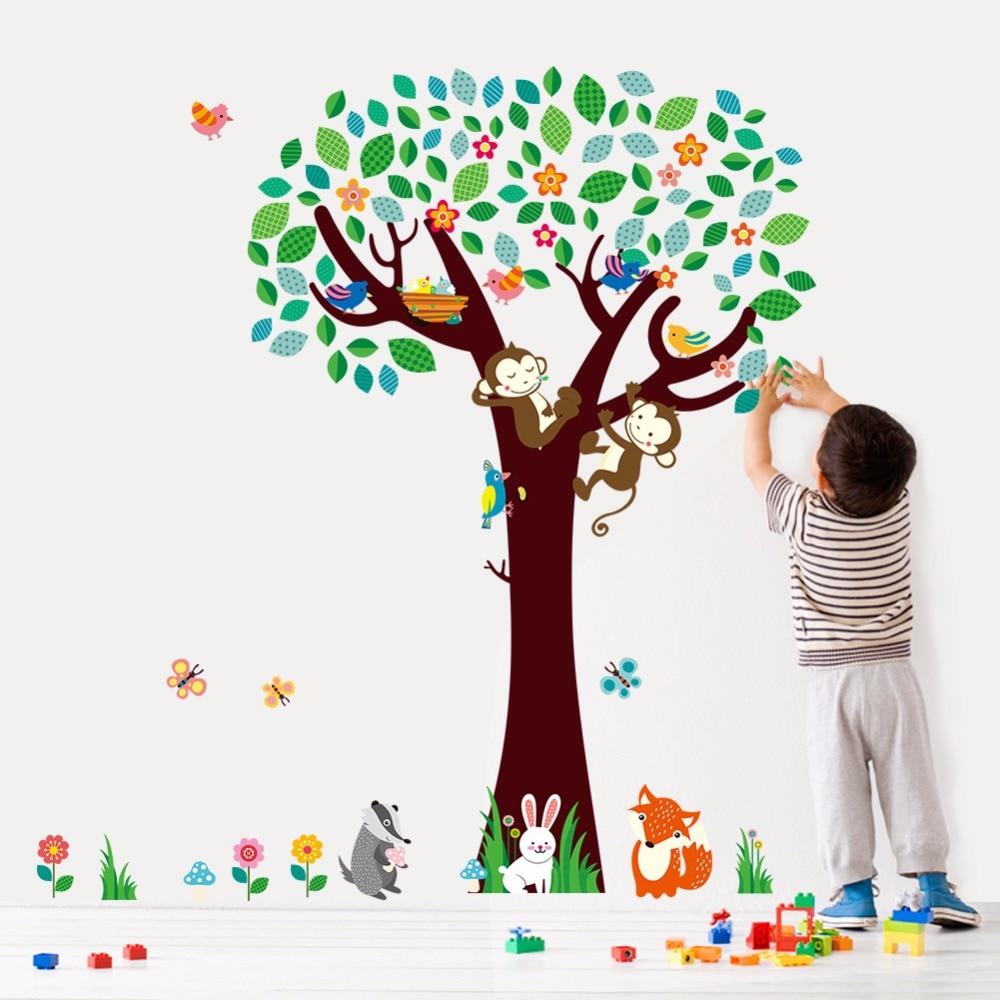 ჱCreativo Decoración para el hogar plano Adhesivos de pared árbol ...