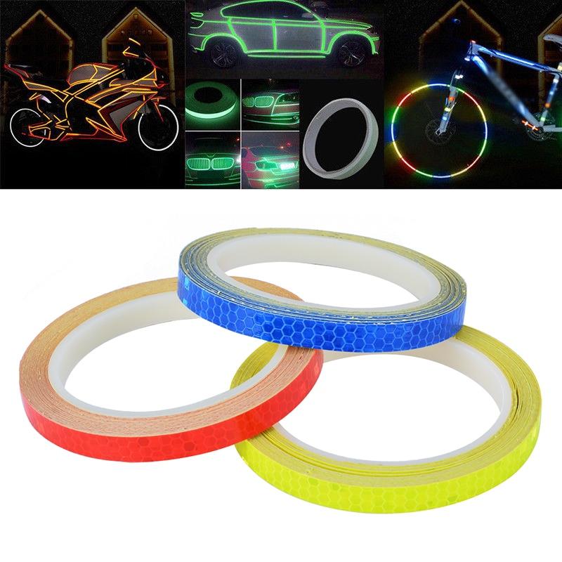1PC 8 Meter Car Styling Reflective Stripe Tape Motorcycle Bike Body Rim Wheel Stripe Tape Sticker Decorative Blue/Red/Yellow