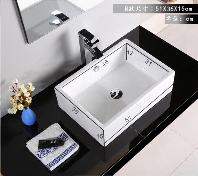 Porcelain Bathroom Rectangular Wash Basin Lavabo Sink Vessel Above Counter Art Three Size Optional Jyt001