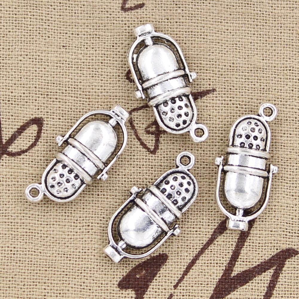 8pcs Charms retro vintage mircophone 26*13mm Antique Silver Plated Pendants Making DIY H ...