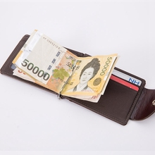 2018 Retro Leather Men Zipper Coin Pocket Purse Money Bag Clamp For Money Slots Magnet Hasp Money Clips