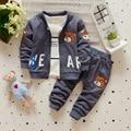 Ropa de los niños Fijaron Tres Pedazos Fijados Bebé Niño Y Niña ropa de Primavera Otoño Invierno Causual Tela Lindo Oso Carta de la cabeza