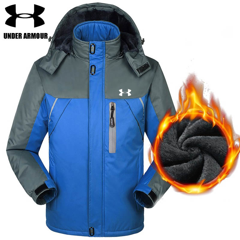 Under Armour winter jacket men warm outdoor windproof jackets Velvet Camping training jackets chaqueta hombre Asian size L-5XL цены онлайн
