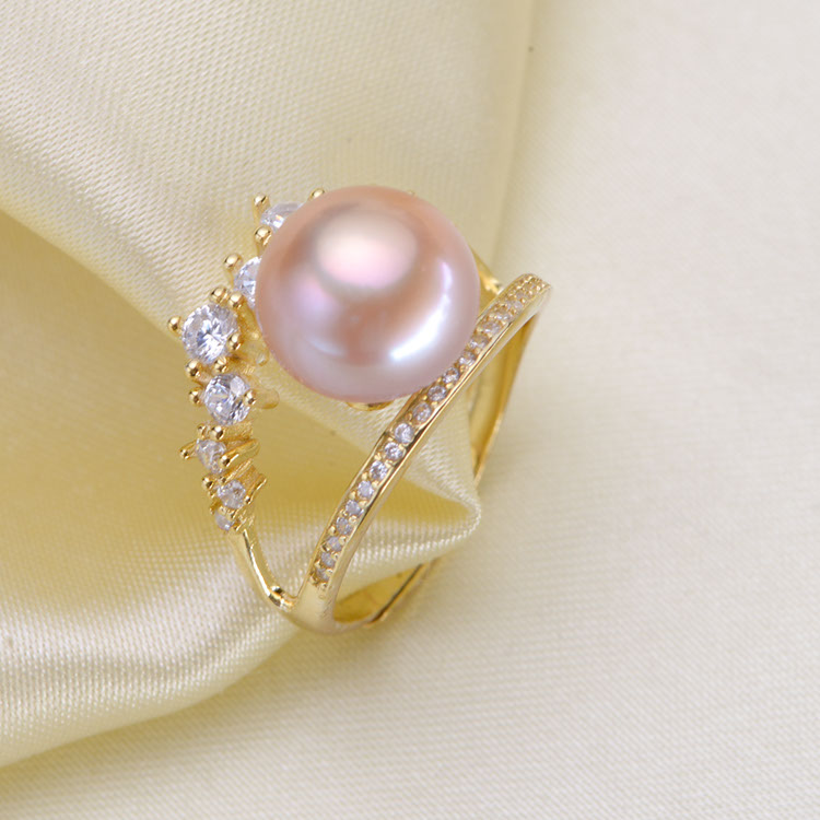 Elegant Pearl Rings Jewery Findings S925 Sterling Silver Adjustable Pearl Rings Accessory Components Silver Gold 3Pcs