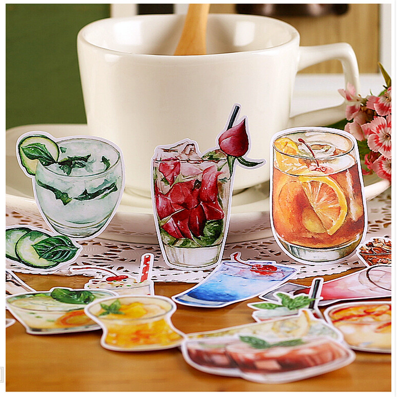 20pcs Creative Cute Self-made  Ice Drink Series Scrapbooking Stickers /Decorative Sticker /DIY Craft Photo Albums/trunk Sticker