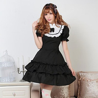 Wholesale 2018 Black Cotton Stand Collar Short Puff Sleeve Lolita Dresses Halloween Classic Ball Gowns Bow With Tie Customized
