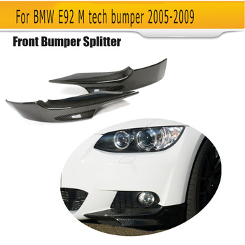 Car Front Bumper Splitters for BMW 3 Series E92 328i 335i M-Tech M Sport Bumper 2007 - 2009 Front Splitters Carbon Fiber image