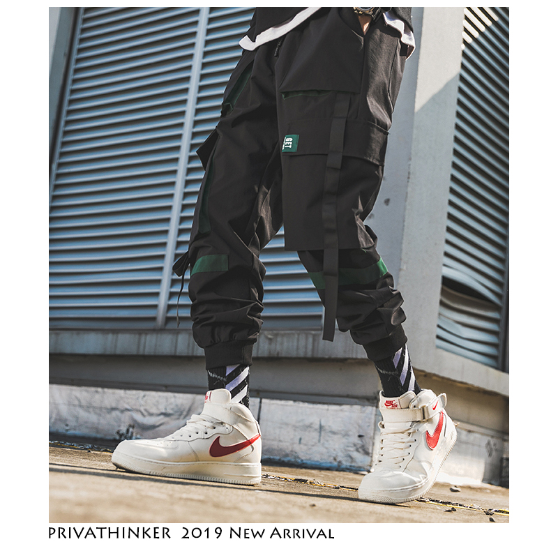 Privathinker Men Hip Hop Belt Cargo Pants 2019 Man Patchwork Overalls Japanese Streetwear Joggers Pants Men Designer Harem Pants(China)