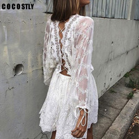 COCOSTLY Brand sexy easy women casual lace embroidery hollow out white loose O Neck beach dress summer wearring