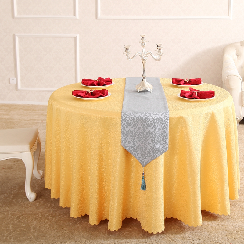 Heavy European Time Flying Yellow Rectangle Small Polyester Jacquard  Tablecloths Hotel Dining Table Round Cloth Cover