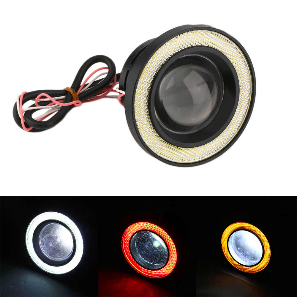 New Waterproof Projector LED Fog Light With Lens Halo Angel Eyes Rings COB 30W Xenon White Blue 12V SUV ATV Off Road Fog Lamp