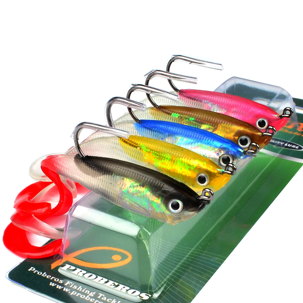 5PC Multicolor JIG Hook Classic Curly Soft Bait Fishing Lure 10cm-3.9 Fishing Bait 14.7g Fishing Tackle Package Lead Fish