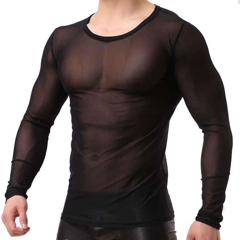 <font><b>Men's</b></font> Fashion Tops Sexy Gauze <font><b>Long</b></font>-Sleeve Tees Transparent <font><b>Mesh</b></font> Sleeved T-<font><b>shirt</b></font> Casual Ultra-thin Top Breathable Undershirt image