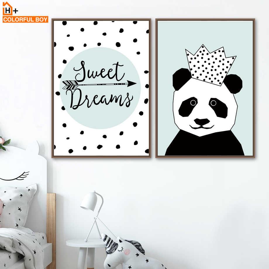 Картина на холсте, настенная Художественная печать, корона, панда, животное, скандинавский стиль, детские украшения, плакаты и принты, настенные картины, домашний декор стен