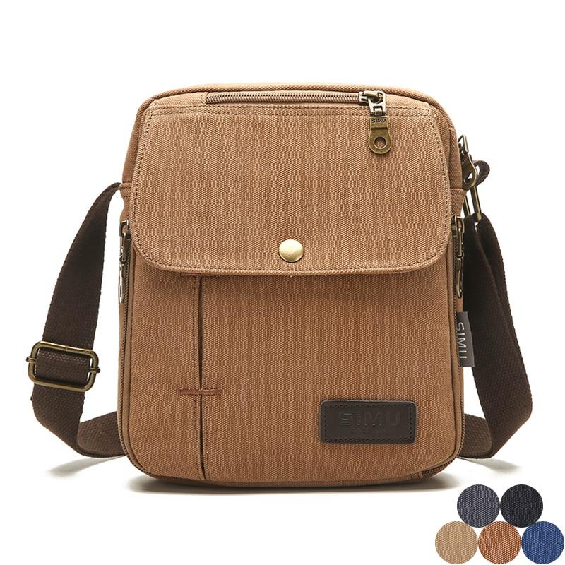 Men Casual Canvas Shoulder Bag Multifonction Utility Messenger Bag for Boy High Quality Male Business Travel Small Crossbody Bag