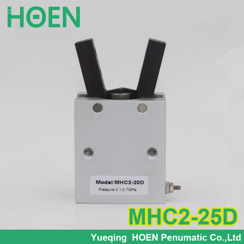 High quality double acting pneumatic robot gripper air cylinder MHC2-25D SMC type angular style aluminium clamps mhc2 10d angular style double acting air gripper standard type smc type pneumatic finger cylinder