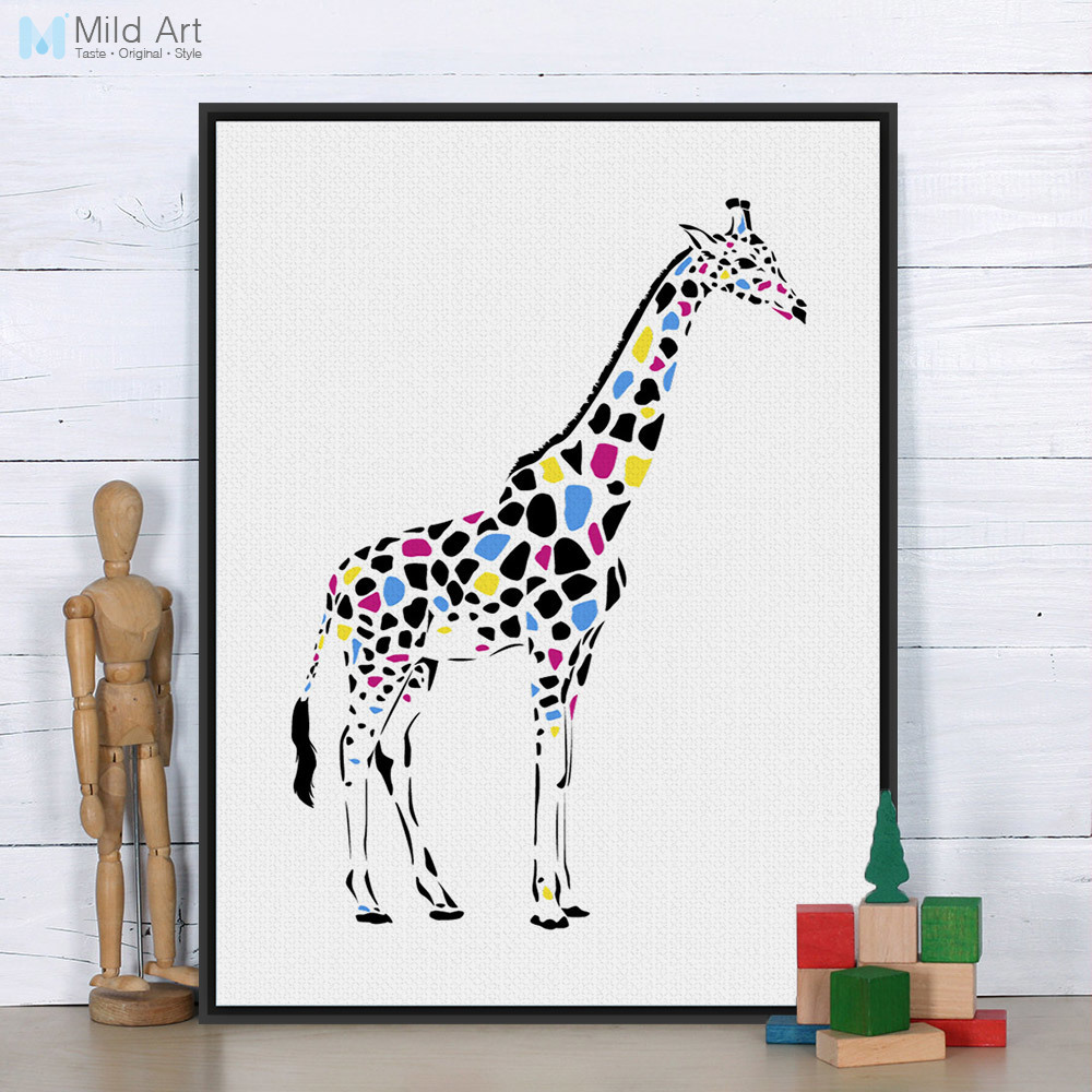 Us 3 46 45 Off Modern Colorful Giraffe Personalised Animal Art Print Poster Cartoon Wall Picture Canvas Painting Customd Kids Room Home Decor In